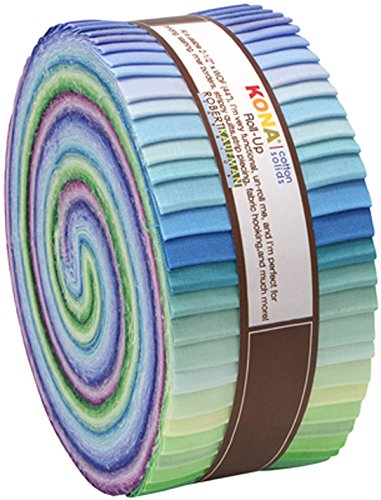 2-1/2in Strips Roll Up Kona Solids Sunset Palette 43Pcs by Robert Kaufman