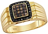 Saris and Things 10kt Yellow Gold Mens Round Cognac-brown Black Colored Diamond Square Cluster Band Ring 3/8 Cttw