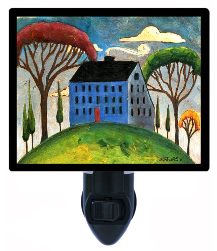 Country and Folk Style Night Light, Blue - Saltbox House Folk Art