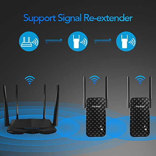 ROCK SPACE WiFi Range Extender - 300Mbps 2 4G WiFi Repeater Wireless Signal  Booster, 1615 sq ft (40 ft Range) 360 Degree Full Coverage N300 WiFi Range