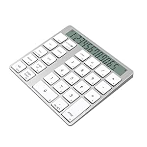 Cateck Teclado & Calculadora en Aluminio Bluetooth 2-en-1 de 28 Teclas para Mac y PC, con Pilas Recargables integradas de Litio