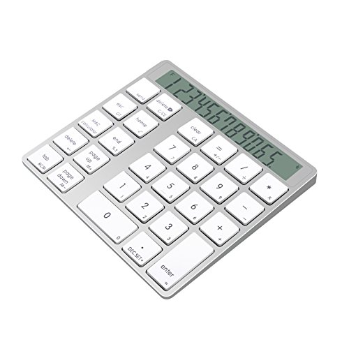 Cateck 2-in-1 Aluminum Bluetooth 28 Keys Wireless Magic Keypad & Calculator for Macs and PCs, Built in Dual Rechargeable Lithium ()