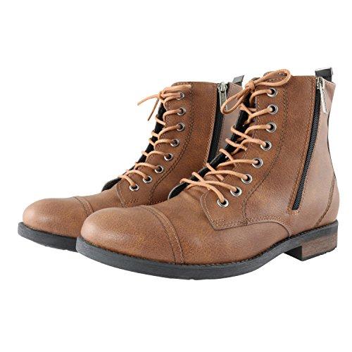 Shoemaniac Herren Boots Winter Reißverschluss Herbst Schwarz Winterstiefel  Winterschuhe Stiefel Outdoorschuhe Profilsohle Camel Braun (40