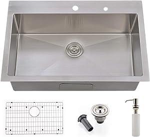 VOKIM 33 x 22 inch Topmount Kitchen Sink 16 Gauge Drop In Stainless Steel Single Bowl Deep Sink