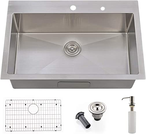 33 Kitchen Sink Drop in-VOKIM 33 x 22 Inch 16 Gauge Commercial Large Topmount Drop-in Single Bowl Basin Handmade Stainless Steel Kitchen Sink, With Dish Grid and Basket Strainer,Soap Dispenser