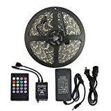 led strip rv - Music Controlled LED Strip Light, Adecorty Waterproof 16.4ft/5M 300LEDs RGB SMD5050 Flexible Color Changing Light Strip Kit with 20 Key IR Music Controller & 12V 5A Power Supply for Indoor Outdoor Use