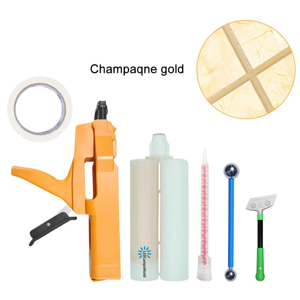Grout Repair Tube Champagne Gold 13.5 Fl. Oz, Waterproof and Mold Resistant Tile Grout Lines Filler for Tiles in Shower Room, Kitchen, Floor, Wall.etc. by LEDLampsWorld (Image #1)