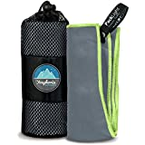 """Youphoria Sport Towel and Travel Towel - Super Absorbent and Quick Drying! Camping, Beach, Pool, Gym or Bath Guarantee! (Gray/Green, 20"""" x 40"""")"""
