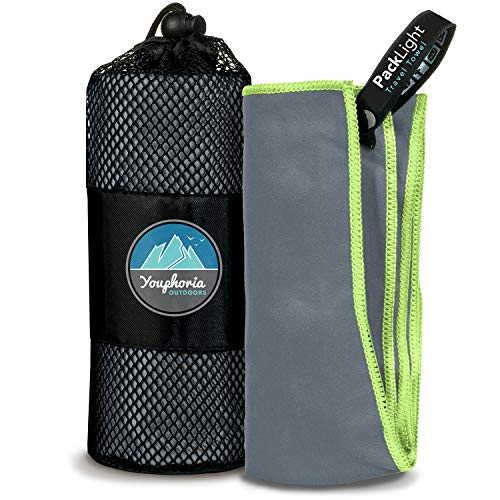 (Youphoria Outdoors Quick Dry Travel Towel with Carry Bag - Compact Microfiber Towel for Camping, Backpacking, Swimming, Sport and Gym - 1)