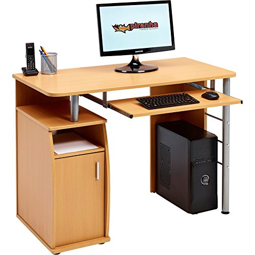 Piranha Trading Escritorio Mesa de Ordenador Despacho con Estantes, Armario para la Oficina en Casa Efecto Madera Haya PC 1b
