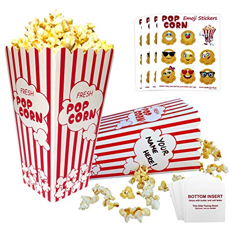 Large Popcorn Boxes (Popcorn Boxes Red and White | 32 Striped Retro Design, Bottom Insert Card helps prevent leaks | BONUS - Emoji Stickers, Movie Nights, Birthdays, Schools, Carnival, Circus, Party Supplies)