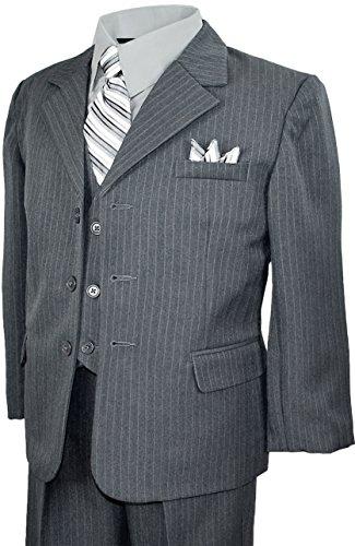 Black n Bianco Baby Boys Toddler Pinstripe Suit (2T, Grey)