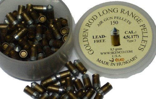 Golden Rod Long-Range Pellets, Type 3, .177 Cal, 8.5 Grains, Pointed, Lead-Free, Tin-Free, 150ct (Grain Tin)