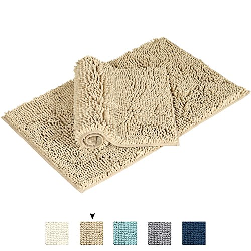 Flamingo P Super Soft Bath Mat Microfiber 2 Pack Shag Bathroom Rugs Non Slip Absorbent Fast Drying Bathroom Carpet by (Taupe 17