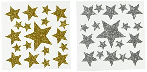 Darice Foamie Glitter Stars Stickers, 2 Sheets, Gold and Silver (106-1373) -