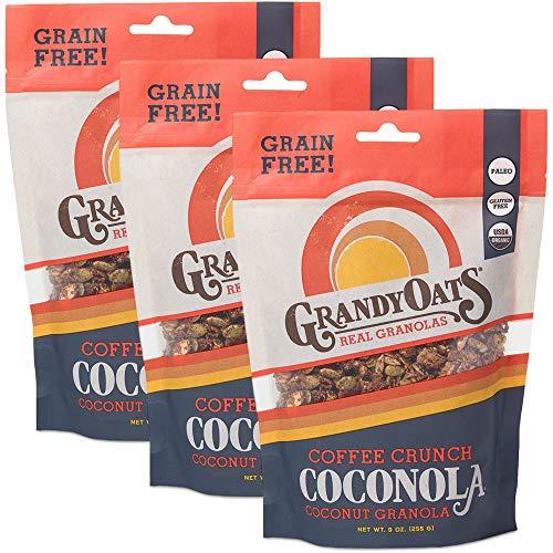 GrandyOats Grain Free Granola | Coffee Crunch Coconola | Certified Organic, Gluten Free, Paleo, Dairy Free, Low Sugar, Low Carb, & Kosher | 9oz bags (Pack of 3)