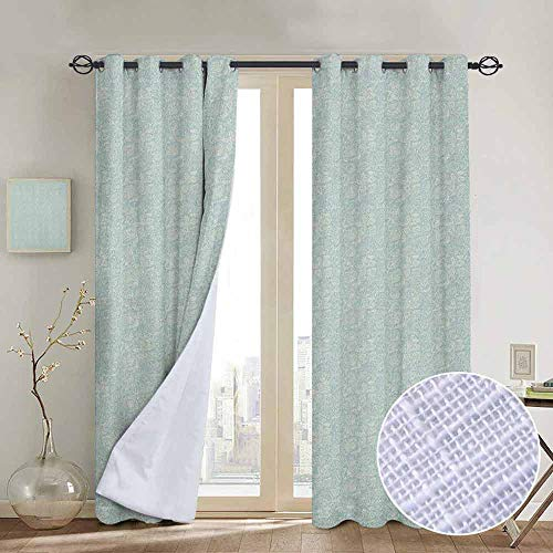 - Modern Farmhouse Country Curtains Doodle,Artistic Cheerful Nature Pattern Butterflies Flowers Little Hearts Vintage, Pale Blue and Beige,Design Drapes 2 Panels Bedroom Kitchen Curtains 84