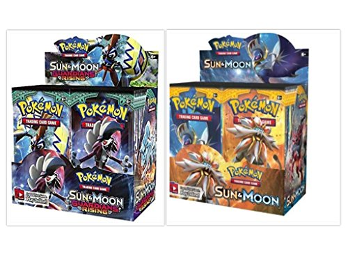 Pokemon Sun and Moon Base Set Booster Box and Guardians Rising Booster Box Bundle, 1 of Each