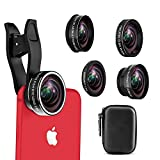 Cell Phone Camera Lens, 5 in 1 HD Lens Kit, 198°Fisheye Lens + 0.6X Wide Angle + 15X Macro Lens + 2X Telephoto Lens + CPL Lens iPhone Xs x 8 7 6s 6 Plus, Samsung Smartphone & Tablets