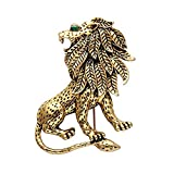 SENFAI Exquisite Fashion Top Grade Strong Lion Shape Brooch Crystal Mosaic Brooch Suit Brooch (10pack Antique Gold)