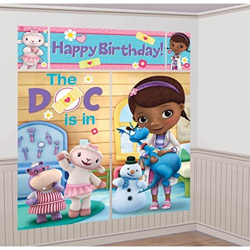 Disney Junior Doc McStuffins Scene Setter Wall Decorations Kit - Kids Birthday and Party Supplies Decoration ()