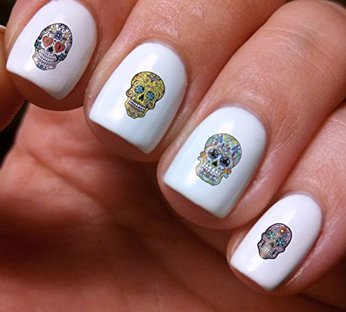 Lady Beauty Ornament Makeup (Nail Art Decals Set 3D DIY Sugar Skulls Mexican Tradition Festive - Original Beauty Fashion Style High Quality Design Decoration Water Transfer- The best products for kids, teens, girls and women)