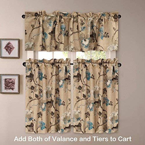 H.VERSAILTEX Kitchen Curtains 45 Inch Length Vintage Floral Brown Blue Curtain Tiers Pair for Bathroom Kitchen Windows Rod Pocket Small Curtains for Kitchen 2 Panels, Each 29 W x 45 L