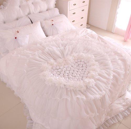 FADFAY Home Textile,Korean Beautiful White Lace Ruffle Bedding Sets,Luxury Girls Wedding Bedding Set Queen Size,6Pcs
