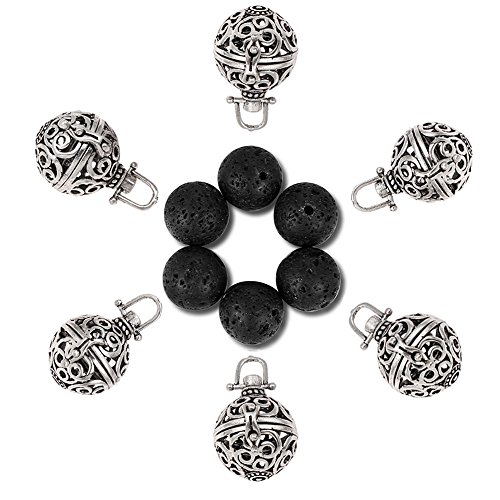 6Pcs Medium Size Diffuser Locket Aromatherapy Essential Oils Pendant Cage Locket Bulk with 6 Black Lava Stone Rock Beads Balls Set for Necklace Bracelet Jewelry Making by Afantti, Antique Silver