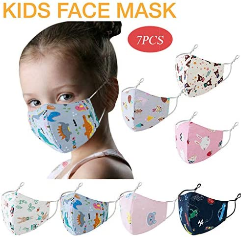 Kaideny Kids Cotton Washable Reusable Protective Mouth Cover with Filters Childrens Face Bandanas Indoor Outdoor School Travel Use