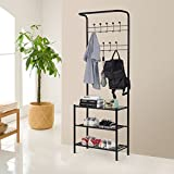 TANGKULA Entryway Hall Tree Metal Coat and Shoe Bench with 9 Hooks and 2-Tier Storage Shoe Shelves Bag Clothes Umbrella and Hat Rack for Entryway Corner Hallway Garment Rack