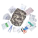Complete First Aid Kit, Aolvo Professional Mini Survival Kit Emergency Medical Trauma Bag, Lightweight and Waterproof for Home Travel Outdoors Hiking Camping - 44 Piece with Nylon Bag - Camouflage
