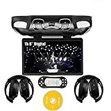 """Ouku Black Digital 15.6"""" -Inch Flip Down Monitor Overhead Video Audio Roof Mount Ceiling and Car DVD player with Wireless FM Modulator/IR Transmitter/USB/SD/Games+Free Pair of Wireless IR Headphones 2PCS Headsets"""