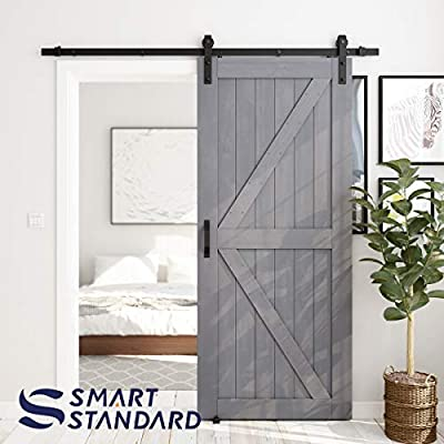 SMARTSTANDARD 36in x 84in Sliding Barn Door with 6.6ft Barn Door Hardware Kit & Handle, Pre-Drilled Ready to Assemble, DIY Unfinished Solid Cypress Wood Panelled Slab, K-Frame, Grey