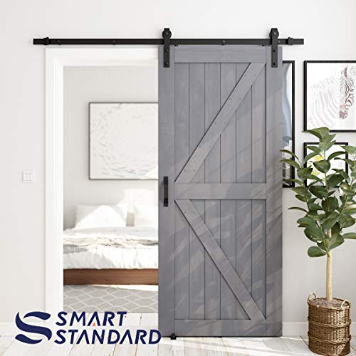 SMARTSTANDARD 36in x 84in Sliding Barn Door with 6.6ft Barn Door Hardware Kit & Handle, Pre-Drilled Ready to Assemble, DIY Unfinished Solid Spruce Wood Panelled Slab, K-Frame, Natural