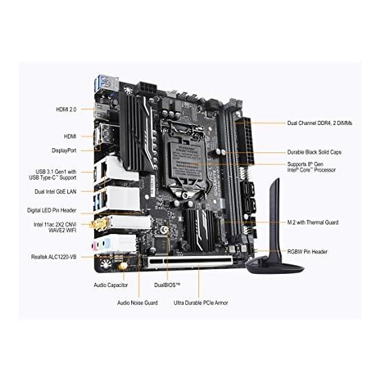 GIGABYTE H370N WiFi (LGA1151/Intel/H270/Mini ITX/USB 3.1 Gen 1 (USB3.0) Type C Type A/DDR4/Motherboard) 511NMbSJSoL. SS555