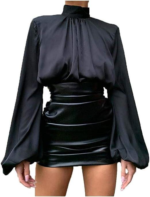 YQUC De la Mujer Delgada con cordón de Verano Color Sólido Camisa De La Manera Satén Plisados Soplo Lo Shi Sueltas, Camiseta Ocasional Desgaste de la Calidad de los Puentes Delgado Cami: