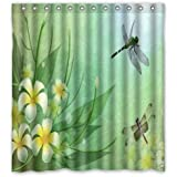 Special Design Dragonfly Pattern Print Home Decor Waterproof Bathroom Polyester Fabric Shower Curtain,66(w) x 72(h)