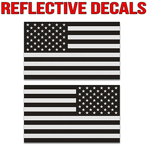 Ghosted subdued American flag car decal, silver with ghosted black print, 1.8