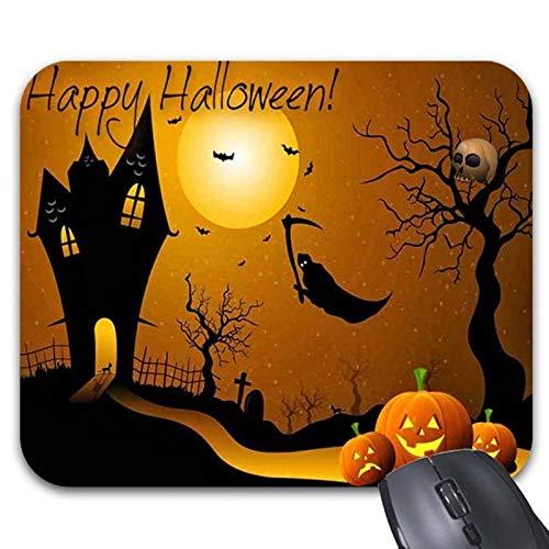 Julyou Flying Grim Reaper Haunted House Mousepad Orange Pumpkins Happy Halloween]()