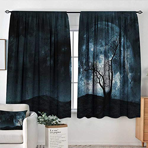 Insulating Blackout Curtains Fantasy,Night Moon Sky with Tree Silhouette Gothic Halloween Colors Scary Artsy Background,Slate Blue,Drapes Thermal Insulated Panels Home décor 42