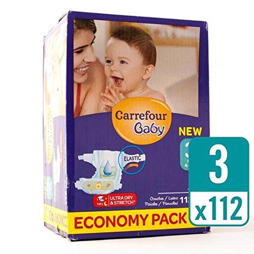 Carrefour bebé Ultra tamaño de secado 3 Pañales Economía Box 112 por paquete: Amazon.es: Salud y cuidado personal