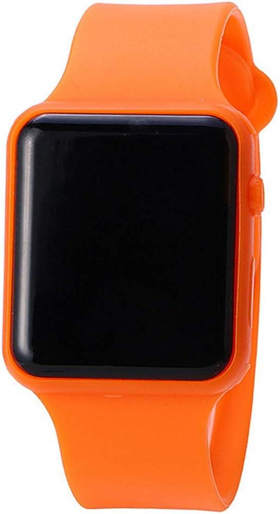 Estudiantes Reloj Banda de Silicona Deporte Reloj LED Digital Deportes Reloj de Pulsera Casual Reloj de Pulsera para niños y niñas Naranja (batería Incluido)