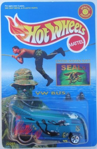 Hot Wheels Vintage United States Navy Seals Drag Bus Special Edition Seals Stamp Card '99 Scale 1/64 (Challenger Seal)