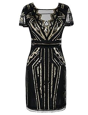 PrettyGuide Women 1920s Flapper Dress Sequin Inspired Cocktail Gatsby Dress