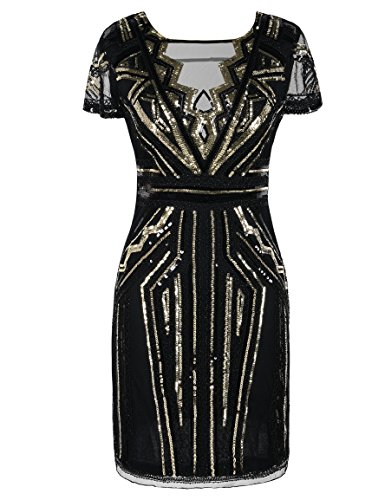 PrettyGuide Women's 1920s Dress Vintage Inspired Sequin Cocktail Flapper Dress XL Gold
