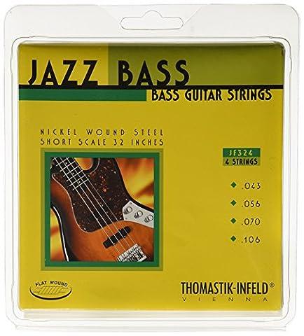 Thomastik-Infeld JF324 Bass Guitar Strings: Jazz Flat Wounds 4-String Short Scale Set; Pure Nickel Flats G, D, A, E (Flat Bass Guitar Strings)