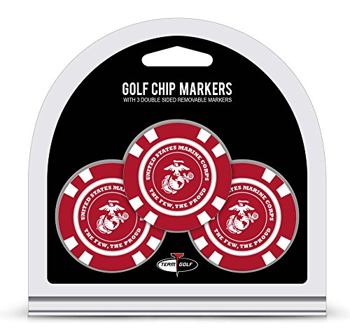 - Team Golf Military Marines Golf Chip Ball Markers (3 Count), Poker Chip Size with Pop Out Smaller Double-Sided Enamel Markers