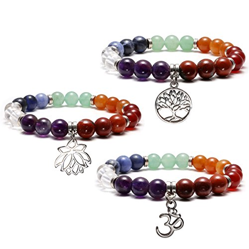 Top Plaza 7 Chakra Healing Balance Energy Crystal Gemstone Beads Bracelets Set, 8MM Beads (Pack of 3 Chakra Charm Bracelets) (Healing Energy Jewelry compare prices)