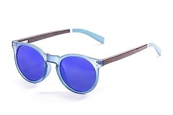 Ocean Sunglasses Lizard Lunettes de soleil White Transparent Frame/Wood Dark Arms/Revo Blue Lens FS2xF